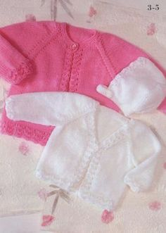 Cardigans and Bonnet free knit pattern, lovely little set to make for baby. V-neck stockinette stitch cardigan with lace feature around the edges. Pattern Pages: 1, 2