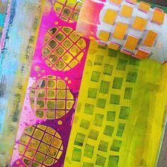 These colors on my gelli plate! Carabelle Studio stencil and handmade foam stamp.. birgitkoopsen.nl