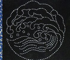 La vague, broderie sashiko japonaise                                                                                                                                                                                 Plus