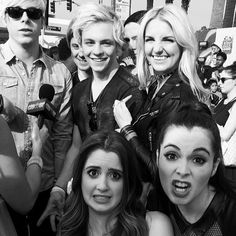 Ross Lynch, Laura Marano and their families pose for a photo at the KCAs