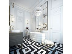 A stunning white bathroom with graphic black and white tile floors, a stained wood vanity, and white soaking tub. What do you think of the chandelier? Source: http://www.zillow.com/digs/Home-Stratosphere-boards/Luxury-Bathrooms/
