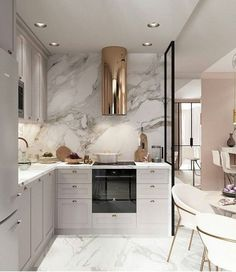 10 Cozinhas em Cinza, Branco e Dourado para te Inspirar – Letícia Granero Interiores Luxury Kitchen Design, Luxury Kitchens, Interior Design Kitchen, Home Kitchens, Grey Interior Design, Galley Kitchens, Gold Interior, Outdoor Kitchens, Interior Modern