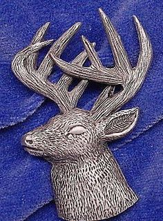 Whitetail Deer Head 3/4 View Pin Cap Pin Tie by OnTargetJewelry