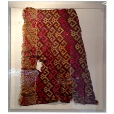 Framed pre-columbian textile fragment Peru 1