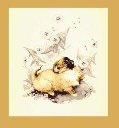 Pekingese Puppy Watching Dandelion Seeds by seasidecollectibles, $26.90