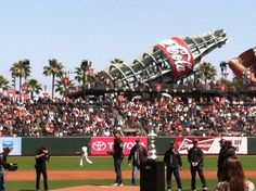 Oracle Team USA throwing the first pitch at the SF Giants game at AT Park