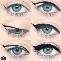 | How To Do Winged Eyeliner, Easy Eyeliner, Eyeliner Application, Beginner Eyeliner, Winged Liner, Flawless Foundation Application, Eyeliner Flick, How To Apply Eyeshadow, Eyeliner Hacks #eyelinertutorial