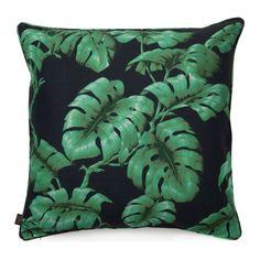 TAROVINE Large Linen Cushion Midnight Green