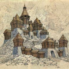 Fantasy City Map, Fantasy Castle, Fantasy Places, Fantasy World, Environment Concept Art, Environment Design, Medieval Castle, Medieval Fantasy, 70s Sci Fi Art
