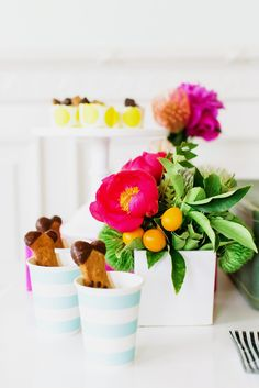 Gorgeous flowers and cute treats