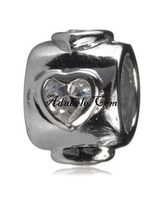 This beautiful heart cz .925 Sterling Silver European charm fits Pandora, Biagi Trollbeads, Chamilia, and most charm bracelets find out more at adabele.com