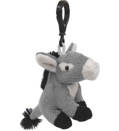 Donkey (Gray) Wildlife Plush Clip-On Stuffed Animal by Unipak