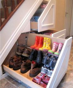 Turn the space under your stairs into storage drawers