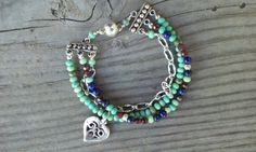 Three Strand Multicolored Stone Beads and Sterling by smisko