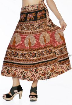 Women Stylish Rajasthani Pink Peacocks Printed Wrap Around Cotton Long Skirt Pink Peacock, Peacock Print, Indian Skirt, Wrap Around Skirt, Print Wrap, Cotton Skirt, Peacocks, Vogue, Tunic Tops