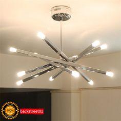 12 Light Contemporary Chrome Rod Star Pendant Lamp Ceiling Hanging Chandelier…