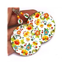 Cute girly Little Flowers Round decoupage jewelry White Red Orange Green Blue Diy Decoupage Earrings, Earrings Crafts, Floral Motif, Floral Prints, Green And Orange, Yellow, Little Flowers, Polymer Clay Earrings, Spring Trends