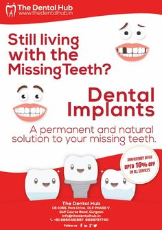 Dental implant is a best and effective method to replace your missing tooth. Get affordable and long lasting dental implants at The Dental Hub, a best dental clinic in Gurgaon celebrating anniversary and offering 10% off in all dental treatment services. so hurry up catch this limited time offer and get dental treatments at affordable costs. #dentalimplants #Gurgaon #TheDentalHub