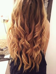 large curls with straight ends...see this is my problem, not what I actually want, but this makes me feel better it's a style :)