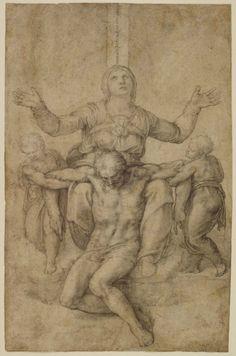 """Michelangelo (Italian, 1475-1564), """"Pietà"""", 1540. Black chalk on paper, 28.9 x 18.9 cm. Isabella Stewart Gardner Museum, Boston (1.2.o.16)."""