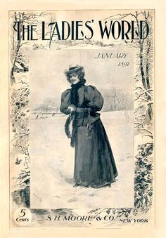 Ladies' World 1897-01  Young woman grins as she packs a snowball to throw at you. Frame: snow-covered trees and fields.