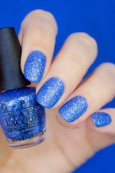 OPI Kiss Me At Midnight - stunning blue nail polish. Click for more #opi #liquidsand #mariahcarey