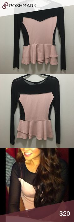Arden b peplum top Blush size small Arden b peplum top with mesh sleeves. In great condition! Arden B Tops Blouses