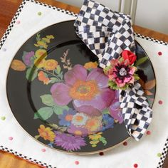 MacKenzie-Childs - Flower Market Charger/Plate - Black