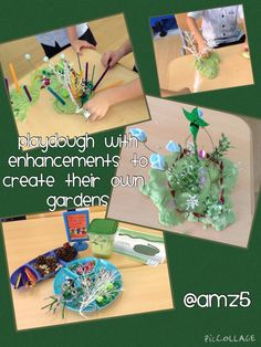 Playdough with enhancements to make gardens Environment Topic, Early Years Teaching, Plant Lessons, People Who Help Us, Funky Fingers, Easter Garden, Traditional Tales, Jack And The Beanstalk, Princess And The Pea