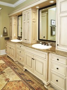 Traditional Bathroom Design, love the glaze cabinets