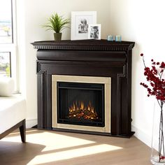 Corner Electric Fireplace | Real Flame Mt. Vernon Corner Unit Electric  Fireplace Part 33