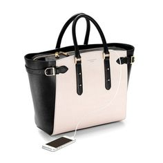 Bag lust alert! The Marylebone Tote in Monochrome Saffiano from Aspinal of London, complete with in-built mobile charger!