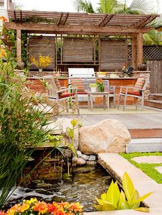 Adding a water feature, such as a fountain, to your deck softens the noise of a busy street.