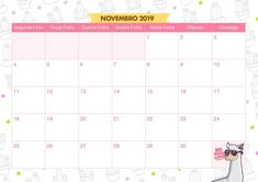 Calendario Mensal Lhama e Cactos Novembro 2019 Clip Art, Printables, Scrapbook, Planners, Popup, Iphone, Drawing, Pink, July Calendar