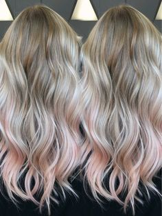 Blonde and peach balayage ombré