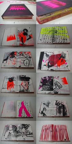 ARTBOOKS made from old sketchbooks + screenprinting + stencil