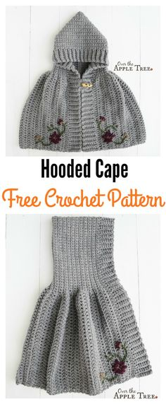 Crochet Hooded Cape Free Pattern for Girl