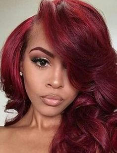 Red Hot Red Pink Hair, Dark Red Hair, Hair Color For Black Hair, Black Girls Hairstyles, Cute Hairstyles, Hair Laid, African American Hairstyles, Hair Pieces, New Hair