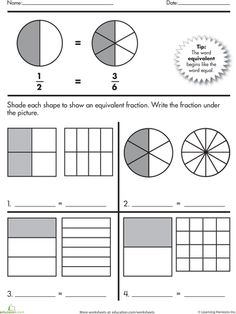 Equivalent fractions | Fraction Worksheets | Pinterest ...