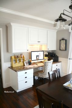 Dream Craft room ideas, I pinned this one because I just love the chair and clock!