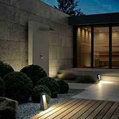 LED garden and pathway luminaire for the private sector · BEGA Design Exterior, Modern Exterior House Designs, Garden Entrance, House Entrance, Modern Landscaping, Backyard Landscaping, Landscape Lighting, Outdoor Lighting, Terrace Design