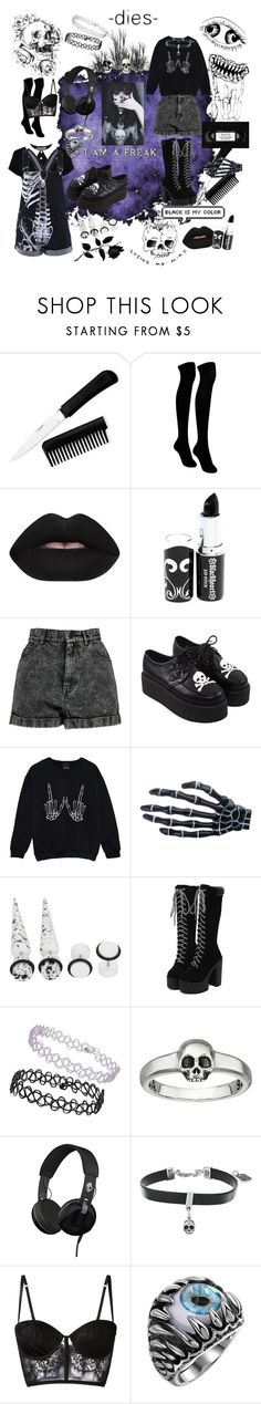 """""""Find what you love and let it kill you"""" by fallenst4r ❤ liked on Polyvore featuring TALLY WEiJL, Velvetine, Hot Topic, Boohoo, Topshop, King Baby Studio, Skullcandy and I.D. SARRIERI"""