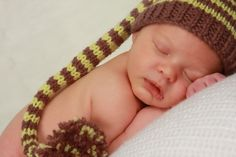 Pixie Style Brown and Lime Striped Newborn Baby Stocking Cap Hat with Cord and Tassle, Hand Knit Photo Shoot Prop. $23.00, via Etsy.