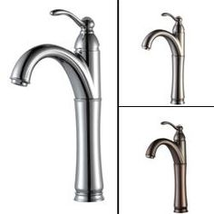 Kraus Riviera Single Hole Single-Handle Vessel Bathroom Faucet with Matching Pop-Up Drain in Chrome (Oil Rubbed Bronze), Brown Vessel Faucets, Vessel Sink Bathroom, Bathroom Faucets, Small Bathroom, Master Bathroom, Bathroom Ideas, Washroom, Bathroom Inspiration, Design Inspiration
