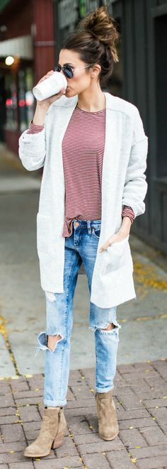 Christine Andrew + back to basics + striped tee + distressed jeans + cosy white cardigan + leather or suede boots + sneakers + heels! Outfit: ILY Couture.