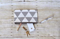 Wristlet, small purse, gray and white wristlet, gray triangle wristlet, phone pouch, teacher gift, bridesmaid gift, gift for her