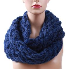 2017 Winter Cable Ring Scarf Women Knitting Infinity Scarves Knitted Warm Neck Circle Scarf Hot Sale