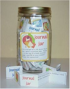 Looking for an easy, interesting holiday gift? It's a journal in a jar! This one is for grown-ups    Jumpstart journal writers with a quart-sized canning jar filled with folded strips of paper. Each one contains a single thought provoking journal prompt. Paired with a pretty blank book, a Journal Jar makes a great gift.