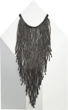 Womens black seedbead drop choker necklace from Topshop - £15 at ClothingByColour.com