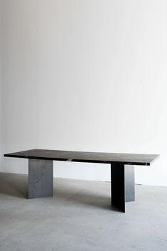 Dinning Table Design, Furniture Dining Table, Furniture Decor, Modern Furniture, Furniture Design, Repurposed Furniture, Painted Furniture, Granite Dining Table, Metal Dining Table